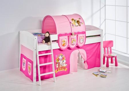 Spielbett Bett -LANDI - Filly -Teilbar - Kiefer Weis - mit Vorhang