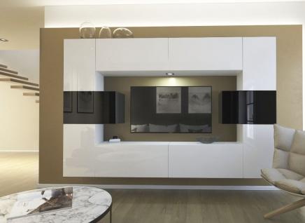 Mediawand Wohnwand 10 tlg - NEXI 1 - Weiss /Schwarz Hochglanz inkl.LED