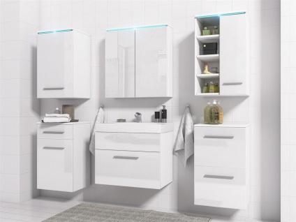 Badmöbel Set 7-Tlg Weiss Hochglanz MAXI inkl.Waschtisch - Vorschau 3