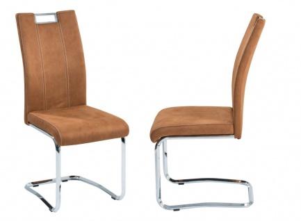 Esszimmerstühle Stühle Freischwinger 4er Set - DC - Softtex Cognac