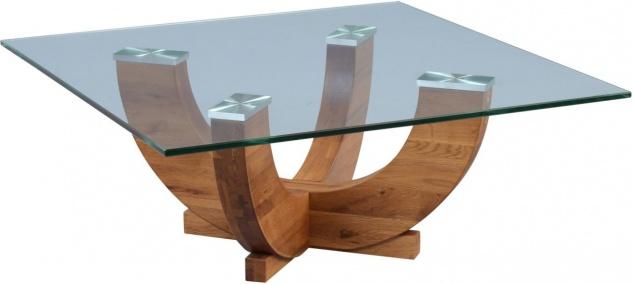 Couchtisch Beistelltisch ARMIN 85x85 cm Wildeiche massiv / Glas - Vorschau 1