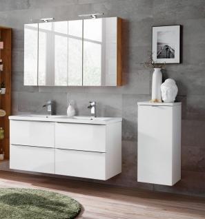 Badmöbel Set 6-tlg Badezimmerset PERUGIA Weiß HGL inkl.Waschbecken