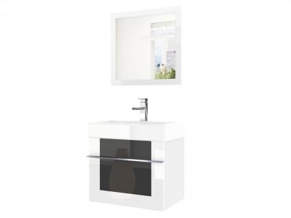 Badmöbel Set 2-tlg DAWINO Set.6 Weiss-Schwarz inkl.Waschtisch 50 cm