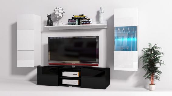 Mediawand Wohnwand 4 tlg - Konzept 32 - Schwarz/ Weiss Hochglanz +LED