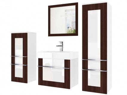 Badmöbel Set 4-tlg DAWINO Set.4 Kastanien-Weiss inkl.Waschtisch 50 cm