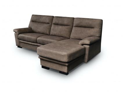 Ecksofa Sofa OPAL mit Schlaffunktion Braun Ottomane Rechts