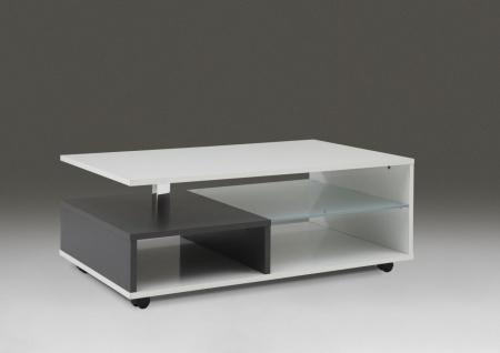 """Couchtisch Beistelltisch Wohnzimmertisch """" Luna II"""" 100x60 cm Weiß Glanz/Anthrazi"""