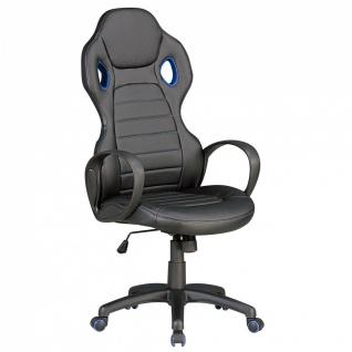 Drehstuhl Bürostuhl Chefsessel NAPOLI - Schwarz / Blau