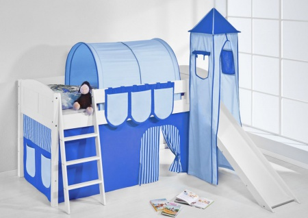Spielbett mit Rutsche.Turm. Vorhang -LANDI/S -Blau Hellblau-Kiefer Weiss