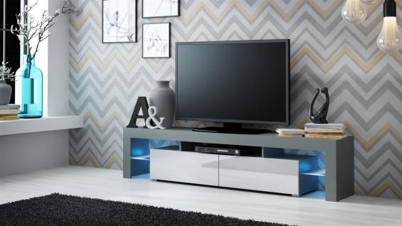 TV Board Lowboard JACK Grau/ Weiss Hochglanz 200cm