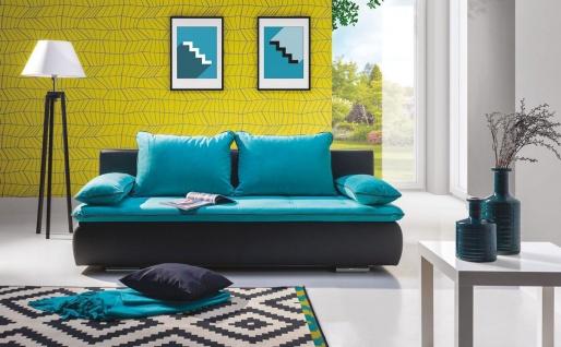 Sofa 3-Sitzer mit Schlaffunktion JORI Schwarz / Türkis
