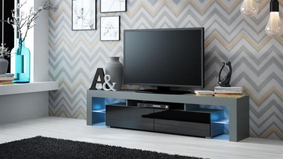 TV Board Lowboard JACK Grau/ Schwarz Hochglanz 200cm