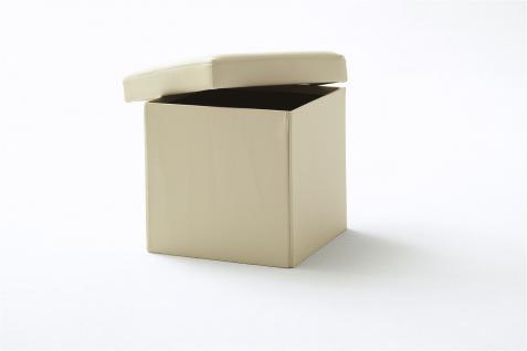 Sitzwürfel mit Deckel Hocker -SELL - Kunstleder Beige 40, 5x40, 5x40cm - Vorschau 2