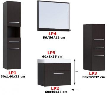 Badmöbel Set 5-Tlg Weiss matt / Schwarz HGL LIVO L inkl.Waschtisch - Vorschau 2