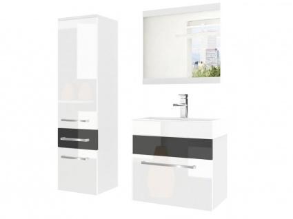 Badmöbel Set 3-tlg MARIO Set.2 Weiß-Schwarz HGL inkl.Waschtisch 50 cm