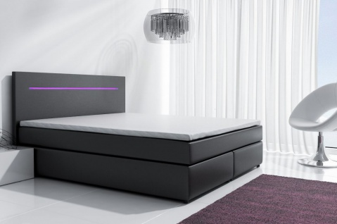 Boxspringbett Schlafzimmerbett BOLOGNA Schwarz inkl.LED 140x200 cm - Vorschau 1