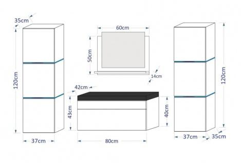Badmöbel Set 5-Tlg Weiss HGL LOBOS inkl.80 cm Waschtisch und LED - Vorschau 2