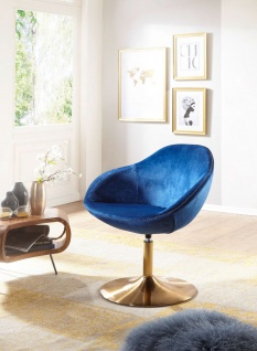 Clubsessel Relaxsessel Barsessel TULU Loungesessel Sessel in Samt Blau