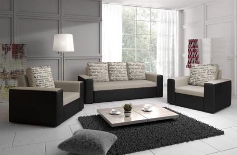 Sofa Set LEEDS 3-1-1 Sofagarnitur in Kunstleder-Webstoff Schwarz/Beige