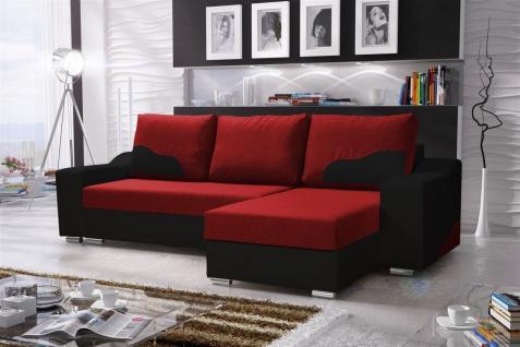 Ecksofa Sofa COLLIN mit Schlaffunktion Schwarz / Rot Ottomane Rechts
