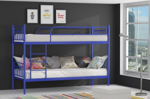 Metallbett DARVIN Blau Hochbett in zwei Einzelbetten teilbar