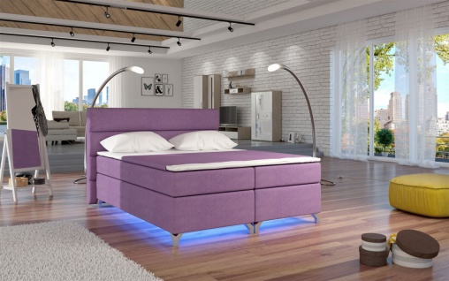 Boxspringbett Schlafzimmerbett NEAPEL Microfaser Pink 180x200cm