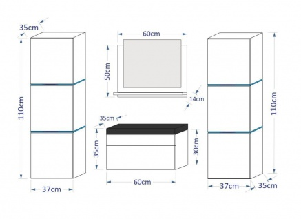 Badmöbel Set 5-Tlg Schwarz HGL LOBOS inkl.60 cm Waschtisch und LED - Vorschau 3