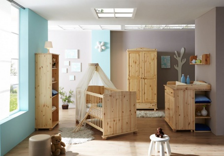 Babyzimmer Set NIKLAS in Kiefer Natur 5-tlg
