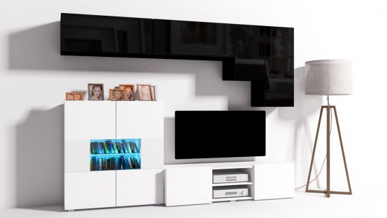 Mediawand Wohnwand 6 Tlg   Konzept 21   Weiss /Schwarz Hochglanz +LED