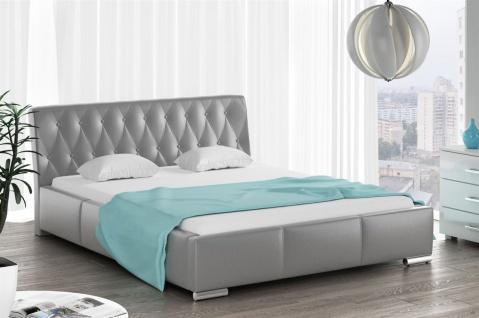 Polsterbett Bett Doppelbett THORE Kunstleder Grau 180x200cm