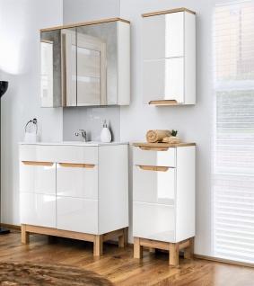 Badmöbel Set 4-tlg Badezimmerset DEVI Weiss HGL inkl.Waschtisch 80 cm