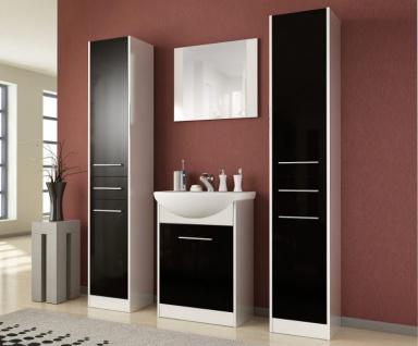 Badmöbel Set 5-Tlg Weiss / Schwarz HGL SEVILLA XL inkl.Waschtisch - Vorschau 4