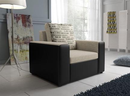 Sessel Clubsessel LEEDS in Kunstleder -Webstoff Schwarz / Beige