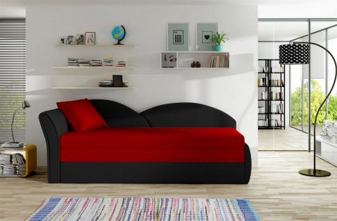 Sofa Schlafsofa inklusive Bettkasten ALINA / L - Schwarz / Rot