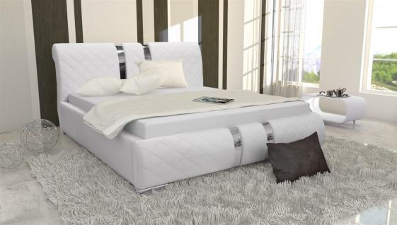 Polsterbett Bett Doppelbett LOGAN Kunstleder Weiss 140x200cm