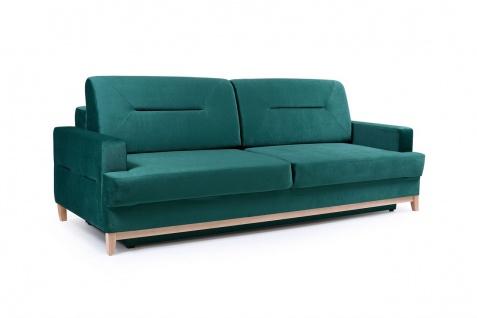 Sofa 3-Sitzer Schlafsofa LUNA Stoff Grün