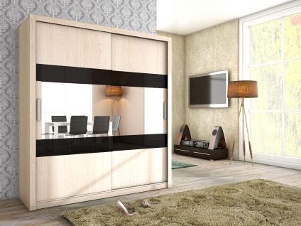 Schiebetürenschrank Schrank EMIL Sonoma matt + Schwarzglas 180x200 cm