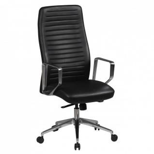 Drehstuhl Bürostuhl Chefsessel FRESNO -Echtleder Schwarz