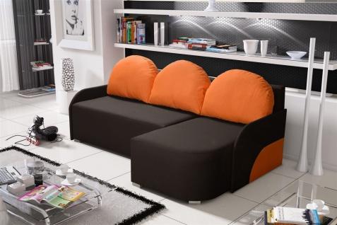 Ecksofa Sofa CANDY mit Schlaffunktion Otto.. Rechts Dunkelbraun/Orange