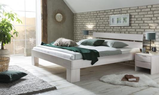 Massivholzbett Schlafzimmerbett FRANKO Buche Weiss Lackiert 200x200 cm
