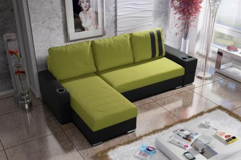 Ecksofa Sofa KNOX XL mit Schlaffunktion Schwarz/Limette Ottomane Links