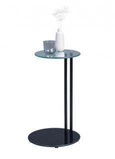 Beistelltisch Tisch FRANK 58.5x35 cm Glas schwarz lackiert
