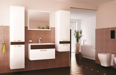 Badmöbel Set 4 tlg. Weiss / Weiss Hochglanz -VENLO - ohne Waschtisch