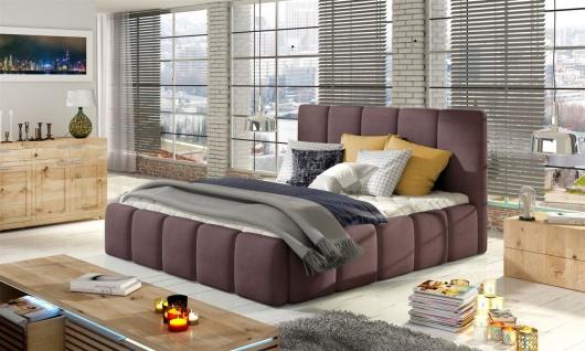 Polsterbett Bett VERONA Komplettset Polyesterstoff Violett 140x200cm
