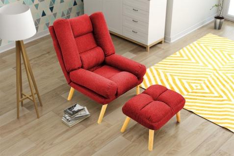 Relaxsessel Sessel VENICE verstellbar in Stoffbezug Rot inkl.Hocker