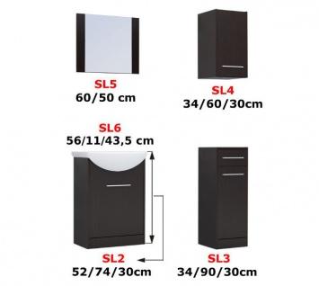 Badmöbel Set 5-Tlg Wenge / Weiss matt PERM inkl.Waschtisch - Vorschau 2