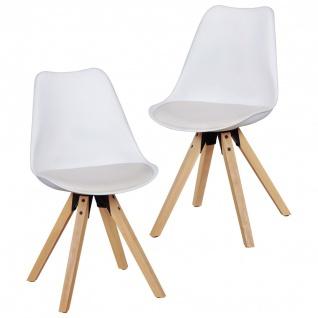 Esszimmerstühle Stühle Vierfußstuhl 2er-Set LEVI Weiss /Rubberwood