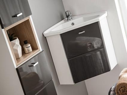Badmöbel Set 3-tlg Badezimmerset VENTO-ECK Grau inkl.Waschtisch 40cm - Vorschau 3