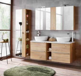 Badmöbel Set 8-tlg Badezimmerset PERUGIA Gold Eiche ohne Waschbecken
