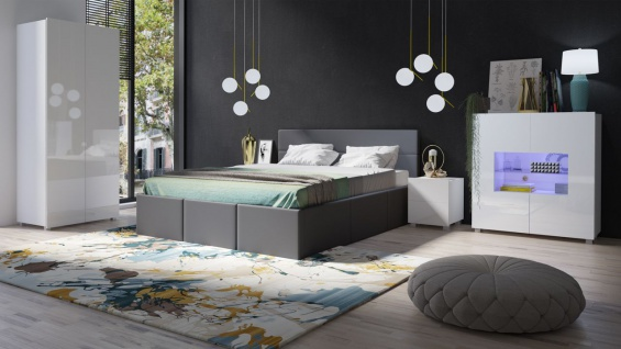 schlafzimmer komplett set 5 tlg labri grau weiss hochglanz kaufen bei sylwia lesniewska fun. Black Bedroom Furniture Sets. Home Design Ideas